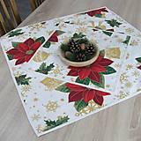 Úžitkový textil - DALILA - vianočná ruža v zlate - obrus štvorec - 10984165_