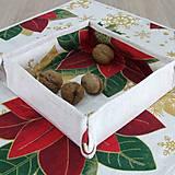 Úžitkový textil - DALILA - vianočná ruža v zlate - košíček - 10985004_