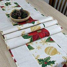 Úžitkový textil - DALILA - vianočná ruža v zlate - stredový obrus - 10984156_