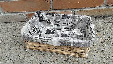 Košíky - Pletený košík štvorec noviny - 10984131_
