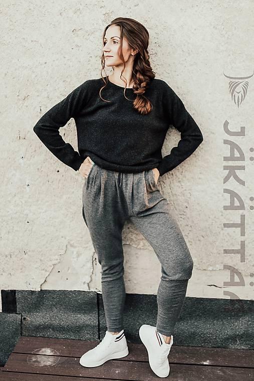 Nohavice - sivé nohavice - 100% kašmír - 10984813_