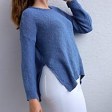 Svetre/Pulóvre - Modrý sveter z 100% bio bavlny - 10985207_