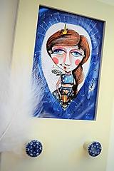 Kresby - -Kresba/víla v modrom/S rámikom- - 10985753_