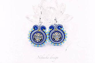 Náušnice - Šoutache náušnice Ornament IV. - modré - 10984217_