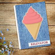 Papiernictvo - Džínsový denník sladký (melónová zmrzlina - točená) - 10984267_