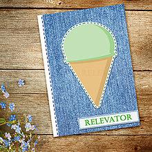 Papiernictvo - Džínsový denník sladký (pistáciová zmrzlina - kopček) - 10984268_