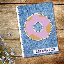 Papiernictvo - Džínsový denník sladký (donut - čučoriedková poleva) - 10984269_