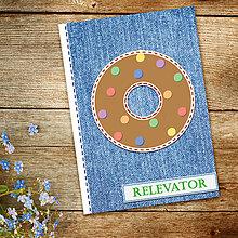 Papiernictvo - Džínsový denník sladký (donut - lentilky) - 10984270_