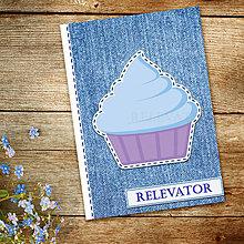 Papiernictvo - Džínsový denník sladký (belasý muffin) - 10984277_