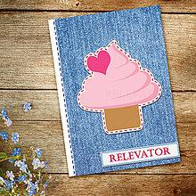 Papiernictvo - Džínsový denník sladký (zamilovaný cupcake punčový) - 10984281_