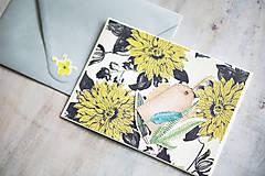 Papiernictvo - Kvetinová scrapbook pohľadnica - 10986152_