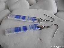 Náušnice - Modré pásiky - 10987471_
