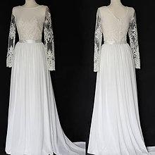 Šaty - Svadobné šaty s dlhým rukávom a šifónovou sukňou - 10986791_