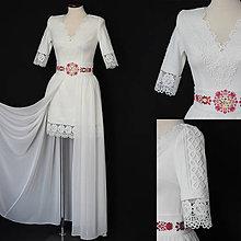 Šaty - Púzdrové svadobné šaty s vyšívaným opaskom a odopínateľnou vlečkou - 10986895_