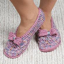 Obuv - Háčkované papuče - ružové - 10986644_