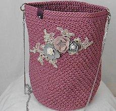 Kabelky - Handmade háčkovaná kabelka staroružová - 10987986_