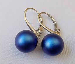 Náušnice - Strieborné náušnice Ag 925 so Swarovski perlami (Modrá) - 10987951_