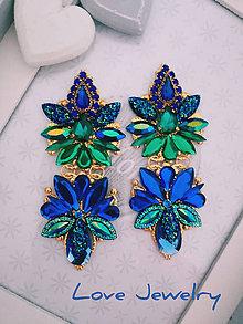 Náušnice - Náušnice modro-zelené Elegant - 10986685_