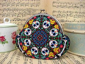 Peňaženky - Lebky a květinky - taštička/kabelečka - 10985967_
