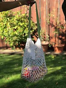 Nákupné tašky - sieťovka háčkovaná - bielo/zelená - 10986547_