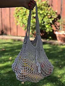 Nákupné tašky - sieťovka- jemne šedá - 10986569_