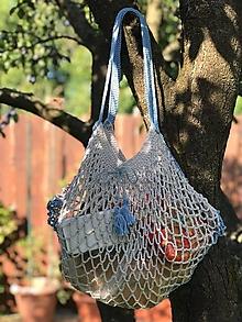 Nákupné tašky - sieťovka šedulinka s modrou - 10986604_