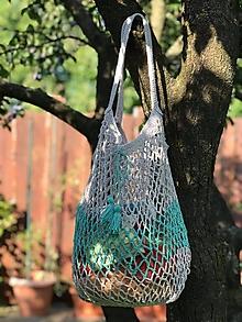 Nákupné tašky - sieťovka šedo/zelenkavo mint - 10986640_