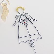 Dekorácie - anjelik so zlatými vlasmi, ako zápich - 10988416_