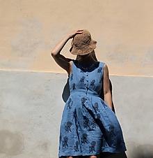 Šaty - lněné modré/veverky - 10988170_