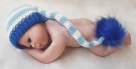 Detské čiapky - Modro-biela elfová čiapka - 10990581_