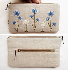 Peňaženky - Peňaženka - Nevädza a Sedmokráska (natur 100% ľan) - 10990809_