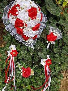 Kytice pre nevestu - Svadobná kytica s previsom (červená) - 10988975_