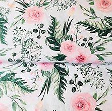 Textil - ružové kvety, 100 % bavlna, šírka 160 cm - 10988581_