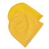 Detské čiapky - Obojstranná detská čiapka -  dotties yellow - 10989592_