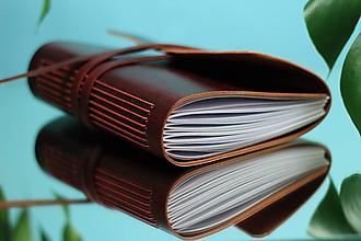 Papiernictvo - Kožený zápisník BURGUNDY A5 - 10990621_
