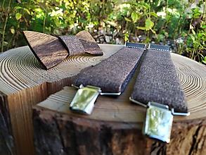 Doplnky - Pánsky drevený motýlik a traky - 10990180_