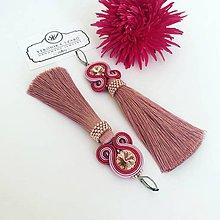 Náušnice - Ručne šité šujtášové náušnice / Soutache earrings -  Swarovski®️crystals (Rebeka - straroružová/koralová ružová) - 10990356_