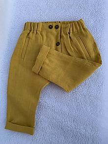 Detské oblečenie - Detské ľanové nohavice v horčicovej farbe - 10990911_