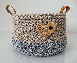 Košíky - Košík pletený béžová-sivá - 10988652_