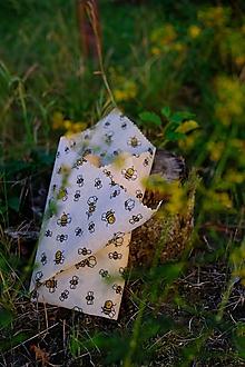 Úžitkový textil - Voskované vrecko Vreckáč 17x17cm (tousťák) (Včielka) - 10990513_