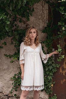 Pyžamy a župany - Dámska nočná košeľa s krajkou z organickej bavlny (S biela) - 10989335_