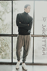 Nohavice - Pánske sivé nohavice - 100% kašmír - 10989790_