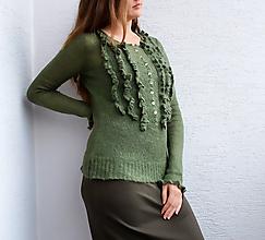 Svetre/Pulóvre - Zelený sveter mohér - 10990554_