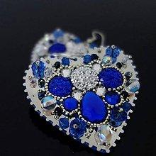 Náušnice - Modré srdiečka - 10990196_