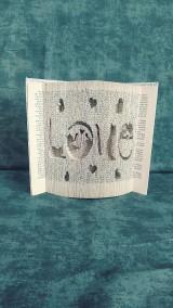 Dekorácie - Láska k mačkám v 4 písmenách - vyskladané z knihy - 10988317_