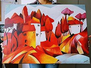 Obrazy - Červená krajina - 10989247_