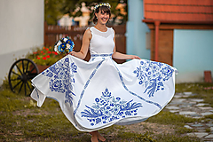 Sukne - Dlhá kruhová sukňa biela s modrým  1 - 10988139_