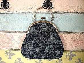 Kabelky - Kabelečka Květiny v modré - 10988914_