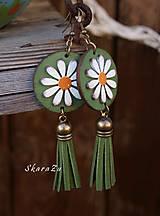 Náušnice - Sedmokráska v olivovej - 10988720_