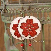 Náušnice - Červený kvet - 10988625_